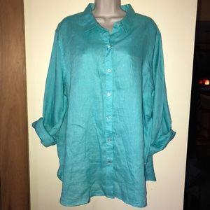 J JILL blue 100% linen shirt
